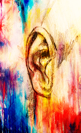 artistic sketch of face parts, detail of ear, on colorful structured abstract background.