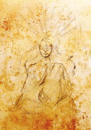 Mystic meditating woman. pencil drawing on old paper.