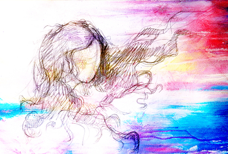 sketch of woman and fluttering hair. pencil drawing on old paper. Color effect.