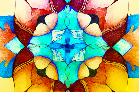 Ornamental mandala. Original hand draw and computer collage.