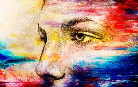 Oeil de belle femme. dessin au crayon sur un vieux papier. Effet de couleur. Banque d'images - 76914727