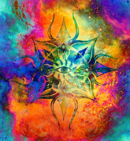 Ornamental mandala in cosmic space, Third Eye Chakra.