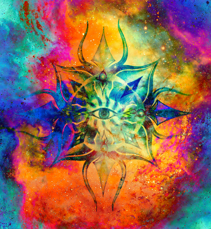 Sier mandala in kosmische ruimte, Third Eye Chakra.