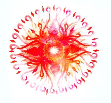 heart chakra red: Ornamental mandala on white background in cosmic space, Root Chakra.