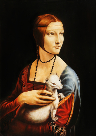 My own reproduction of painting Lady with an Ermine by Leonardo da Vinci. Banco de Imagens - 77005872