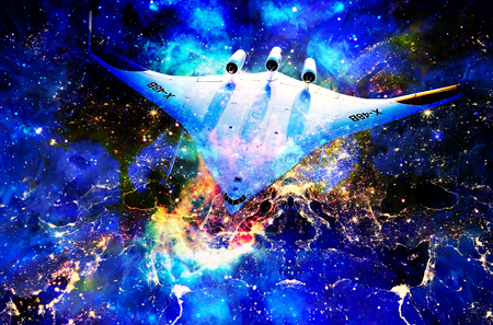 Nasa spaceship in cosmic space and Earth city night lights collage. Stock Photo