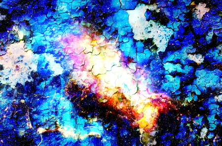 Cosmic space and stars, color cosmic abstract background. Crackle effect. Stock Photo
