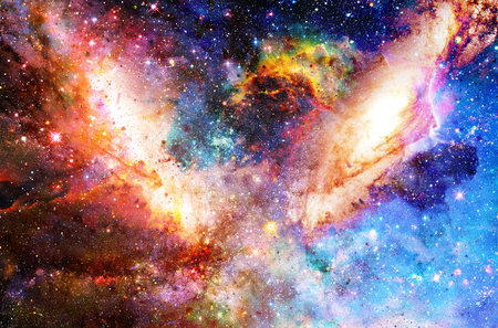 Cosmic galaxy and stars, color cosmic abstract background Stock Photo