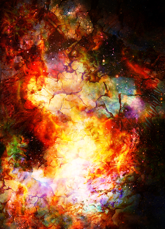 Cosmic space and stars, color cosmic abstract background. Crackle and fire effect. Stock Photo