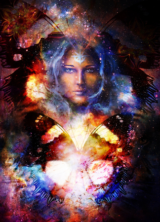 Goddess Woman and butterfly in Cosmic space. Cosmic Space background. eye contact. Banco de Imagens