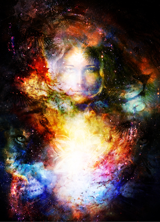 Goodnes woman and lion and light mandala. Cosmic Space background. eye contact. Stock Photo