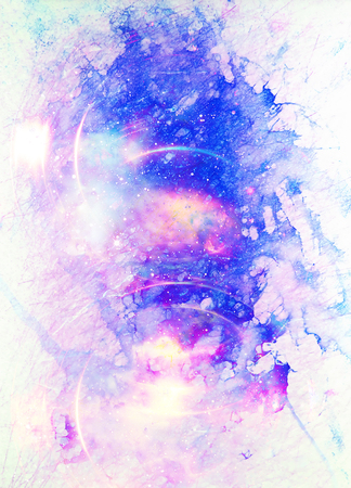 composition: Cosmic space and stars, color cosmic abstract background. Winter effect. Stock Photo