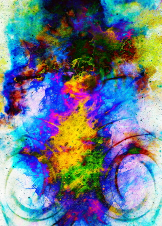 glimpse: Centripetal circle shapes on abstract colorful cosmic.