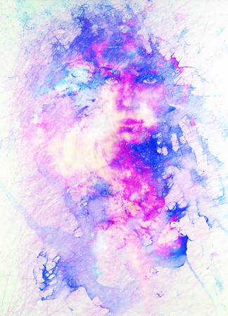 Goddess Woman in Cosmic space. Cosmic Space background. Marble Structure.