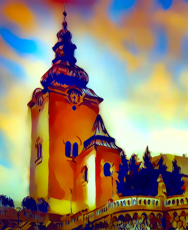 catholic church building, architectural dominant of the city, graphic from painting.