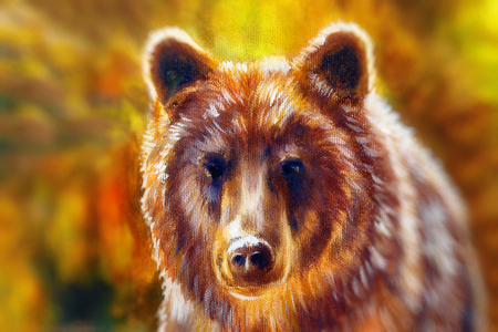 computer art: head of mighty brown bear, oil painting on canvas and graphic collage. blurred background. Eye contact. Stock Photo