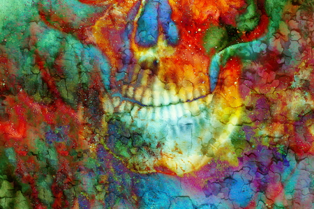 cadaver: Detailed skull mouth on color background. Crackle effect Stock Photo