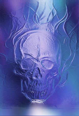 Skull. glass and fractal effect. Color abstract background Stock Photo