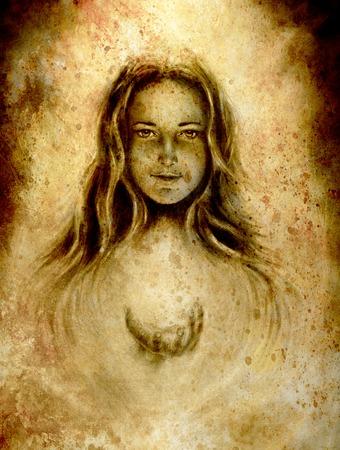 絵画 goddeess の女性。眼との接触。セピア色の効果。 写真素材