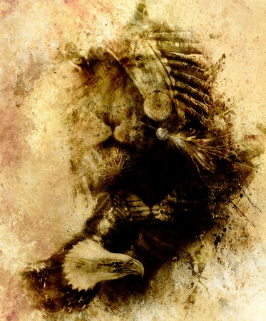 painting of mighty flying eagle and tiger. on abstract background, sepia effect.