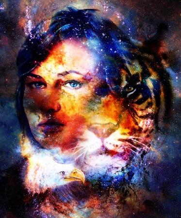 Goodnes femme et tigre et aigle. Fond de l'espace cosmique. Banque d'images - 79702103