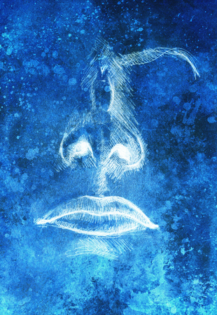 black and white: artistic sketch of face parts, nose and mouth, on colorful structured abstract background.