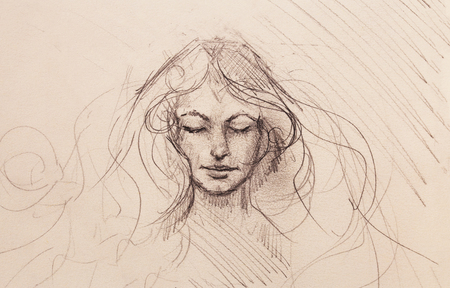 drawing of beautiful contemplative woman face on abstract background. Reklamní fotografie