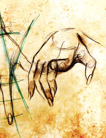 finger nails: Drawing hand, pencil sketch on paper, sepia and vintage effect. Stock Photo