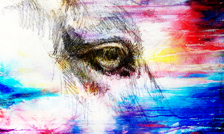 horse eye on old paper. Color effect.