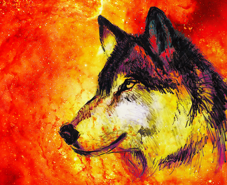 astral: Wolf portrait, mighty cosmical wolf in cosmic space.