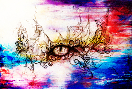 spook: Mystic eye and beautiful ornamental. Drawing on old paper, original hand draw. Color effect.
