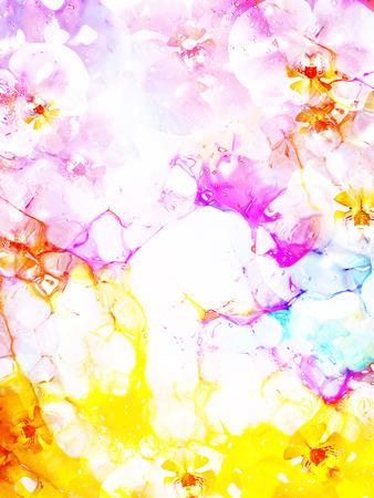 bloem op abstracte kleurenachtergrond. Roze en gele kleur.