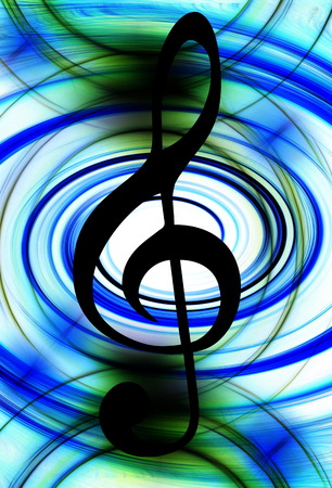 melodist: Abstract music theme background with clef, modern design.