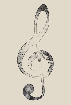 Violin clef on brown background. Music concept. Copy space.