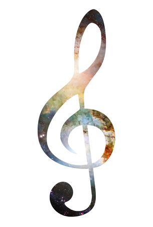 Cosmic clef on white background. Music concept. Copy space. Stock Photo