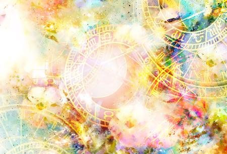 Zodiac collage in kosmische ruimte. Abstracte kleurenachtergrond.
