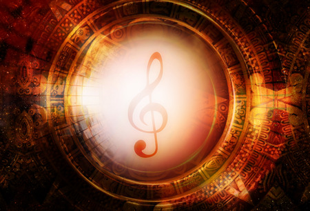 Ancient Mayan Calendar and music clef, Cosmic space with stars, abstract color Background, computer collage. Stock Photo