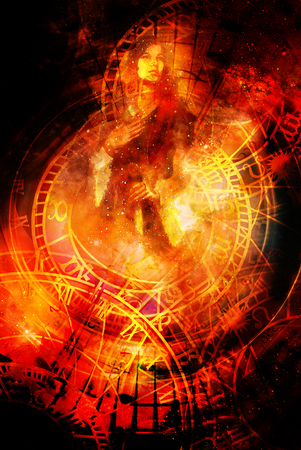 Goddess Woman and zodiac. Cosmic background. Fire effect. Stock Photo