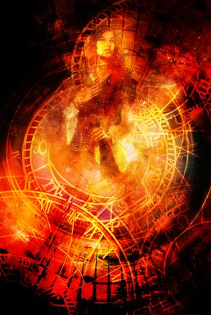 lady clock: Goddess Woman and zodiac. Cosmic background. Fire effect. Stock Photo