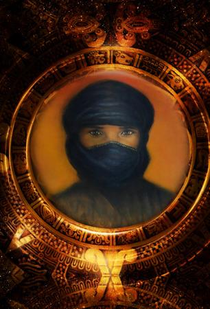 arabian man in maya calendar. Cosmic space background. graphic design. Stock Photo