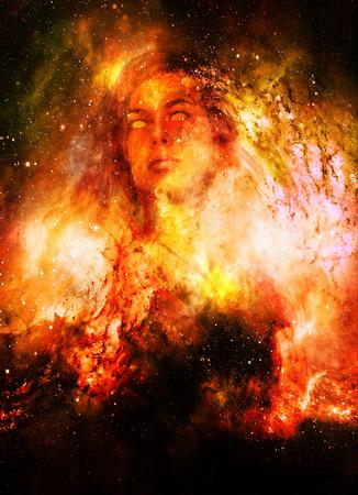 Diosa Mujer en el espacio cósmico. Fondo del espacio cósmico. Foto de archivo - 80175734