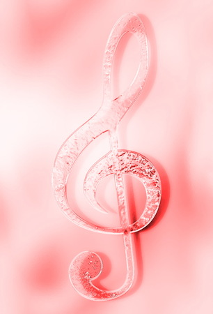Music clef on abstract background. Music concept. Glass and metal effect. Stock Photo