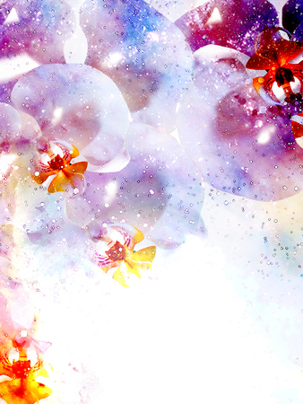 Cosmic space with flower, color galaxy background, computer collage.