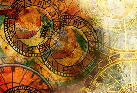 Old clock and zodiac collage. Abstract color background.
