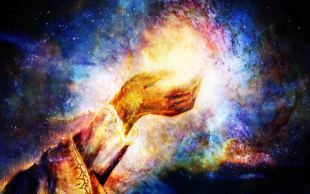 woman hand with spiritual mystic light, painting collage. Cosmic space.