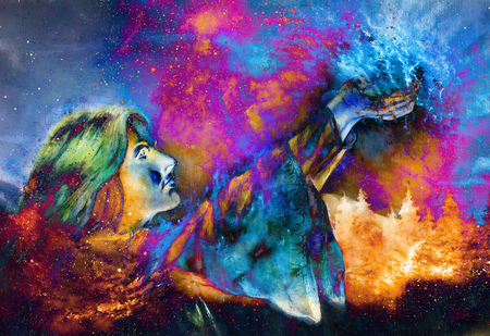 beautiful woman with hands holding light, computer graphic from painting. Cosmic Space background. Imagens