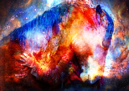 Loving horse and a girl, girl hugging a horse in cosmic space. computer collage.