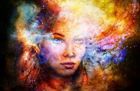 Godin Vrouw in kosmische ruimte. Kosmische ruimte achtergrond.