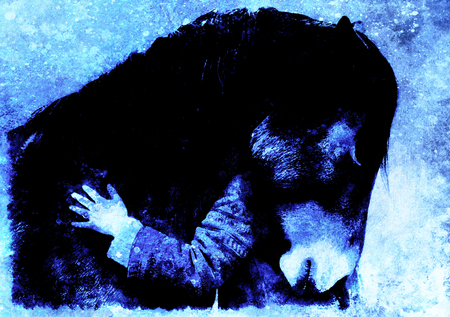 Loving horse and a girl, girl hugging a horse. computer collage. Winter effect.