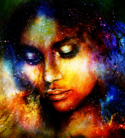 daydream: Goddess Woman in Cosmic space. Cosmic Space background.